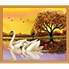 New 2015 5D Middle Swan Embroidered Diamond Round Crystal Diamond DIY Painting on Canvas Print without Framed