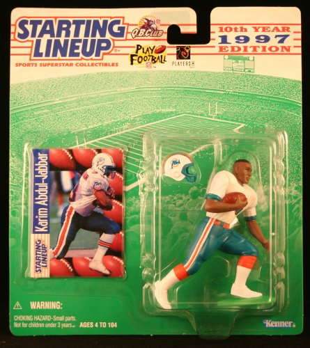 KARIM ABDUL-JABBAR / MIAMI DOLPHINS 1997 NFL Starting Lineup Action Figure & Exclusive NFL Collector Trading Card