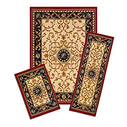 Lorraine Collection 3 Pc Area Rug Set Size: 5\'x7\' Rug, 22\