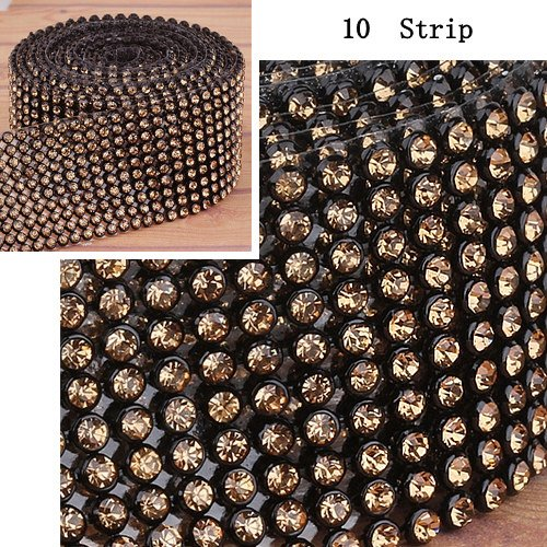 2.4Meter 10Strip 3mm Light Colorado Iron_On Hotfix Crystal Rope Reel Chain I0077-9