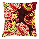 Vervaco Flowers with Swirl Motif III Cross Stitch Cushion Multi Colour
