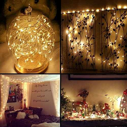 LE 33ft LED String Lights, 100 LEDs, Copper Wire, Flexible Fairy Lights, Warm White, Indoor and ...