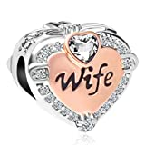 CharmSStory Rose Gold Wife Heart Love Beads Charms for Bracelets & Necklaces (White) (Color: White)