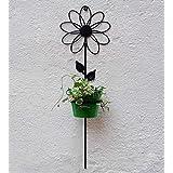 Green Gardenia Iron Wall Sun Flower With Bucket-Green
