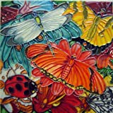 Continental Art Center BD-2145 8 by 8-Inch Dragonfly Butterfly and Ladybug Ceramic Art Tile