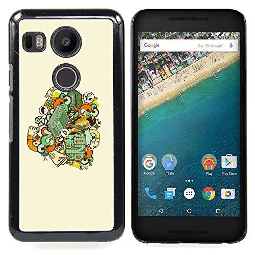 For LG Google Nexus 5X - Skull Badge Case Cover Protection Design Ultra Slim Snap on Hard Plastic - God Garden - (Google Chrome Badge compare prices)