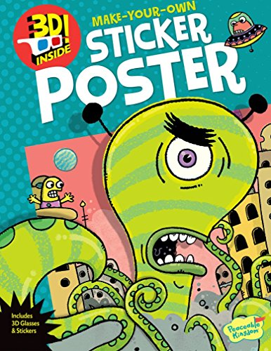 Peaceable Kingdom Alien Attack! 3D Sticker Activity Poster Book - 1