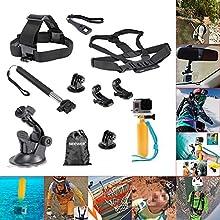 Neewer®8-en-1 Kit de accesorios para Gopro Hero 4 héroe Negro Plata HD 4 3 + 3 2 1, SJ4000, SJ5000, SJ6000 de deportes cámaras, el Kit incluye: cabeza de Cinturón Correa Monte + Pecho Cinturón Correa Monte, Manija extensible Monópode + Soporte de ventosa coche + empuñadura Mango flotante + (2) Adaptador del Montaje en trípode + (2) superficie de Gopro hebilla J-Hook + llave + bolsa Neewer
