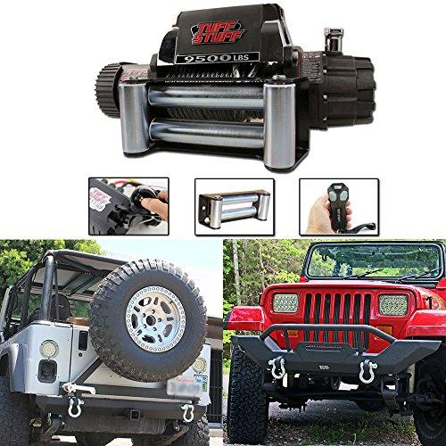 Tuff Stuff Jeep Wrangler TJ YJ Front Bumper, Rear Bumper & 9,500lb Winch Combo (Rear Tj Bumper compare prices)