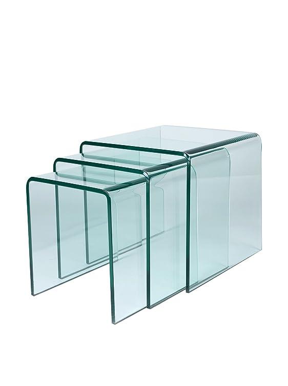 Lo+DeModa Glass Tavolino da Caffè, Vetro, Vetro Trasparente, 50x50x48 cm
