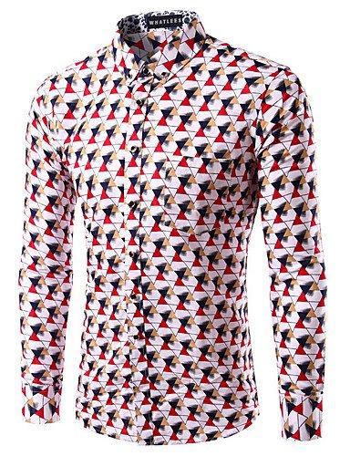 SU Slim Fit Manica Lunga Camicia A Quadri Camicie Casual Uomo Camicie Smoking Camicie Di Cotone Uomo , Red , 44