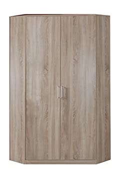 Oak Effect Corner Wardrobe Unit - 2 Doors - 8 Shelves -Hanging Rail - German Made Quality - Modern Metal Handles - Flat Packed For Home Assembly