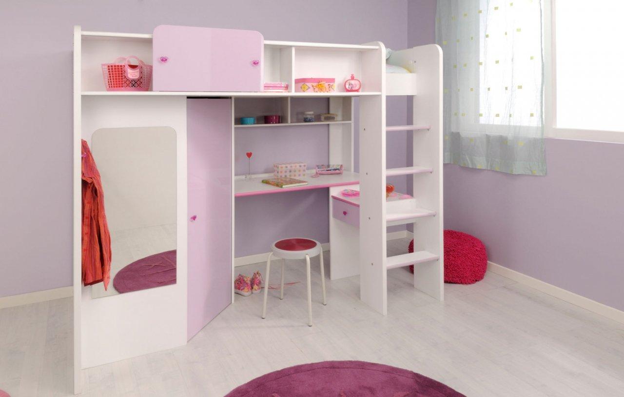 Hochbett mit integriertem Schreibtisch und Kleiderschrank in weiß mit Absetzungen in Hochglanz lila Jamina günstig