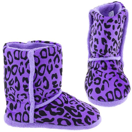Image of Chatties Purple Animal Print Bootie Style Slippers for Women (B005Y4T2FG)