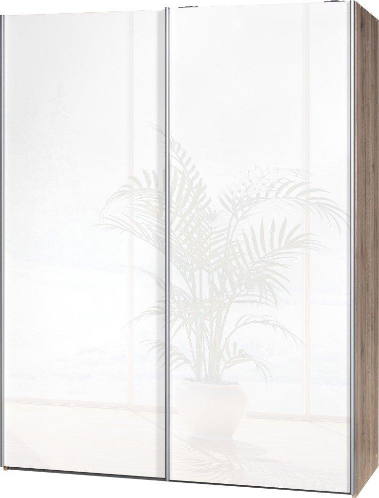 Schwebetürenschrank Soft Plus Smart Typ 43″, 150 x 194 x 61cm, Sanremo hell/2 x Weiß hochglanz