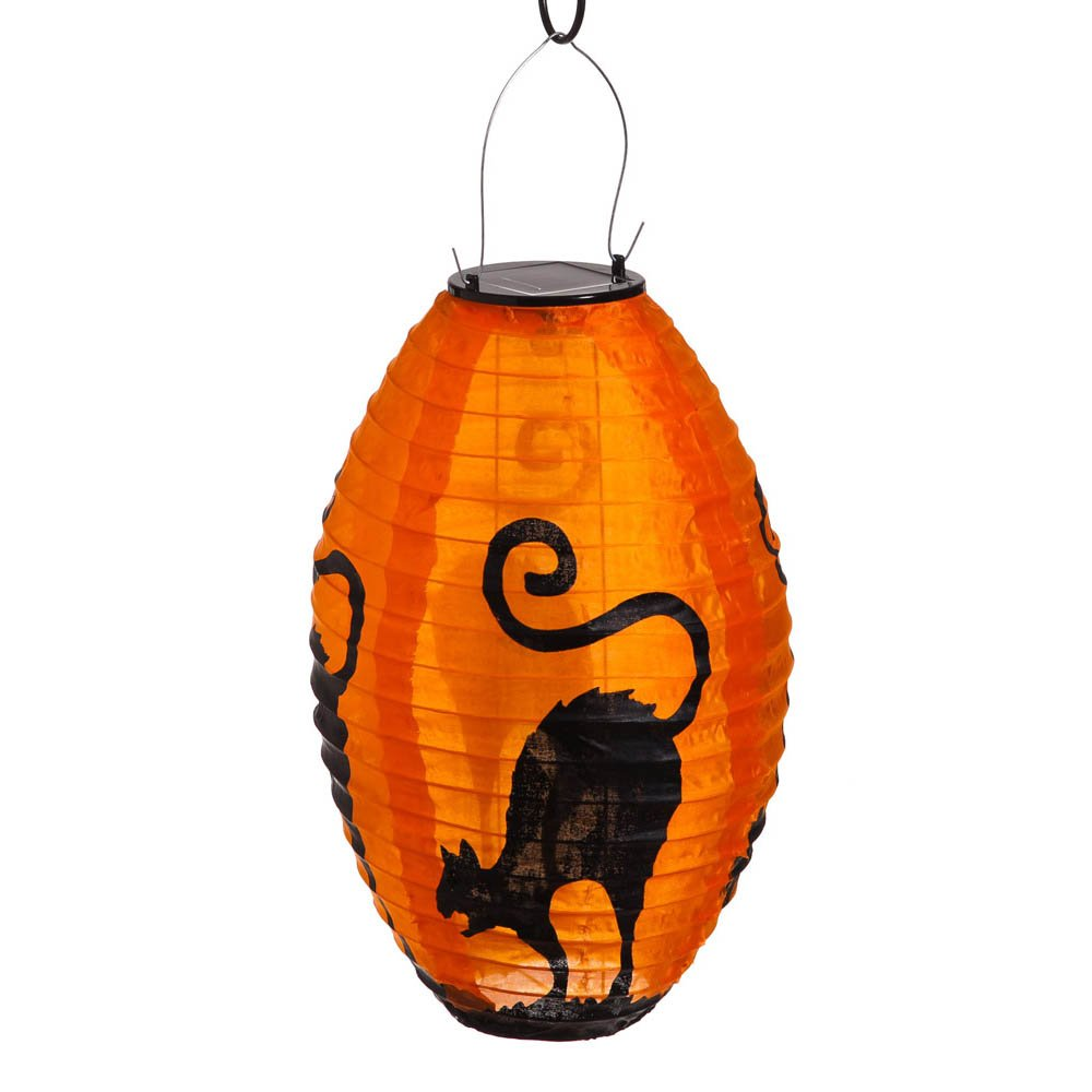 halloween solar powered fabric lantern set included in this set of two fabric lanterns are an orange lantern printed with black cat imagery and a purple