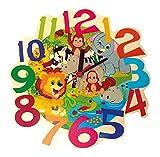 Hess Holzspielzeug 30011 Kinderwanduhr Dschungeltiere aus Holz