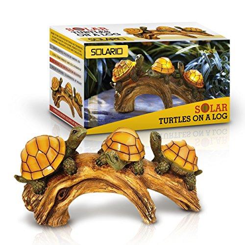 solar powered turtles auf log dekorations ultra durable. Black Bedroom Furniture Sets. Home Design Ideas