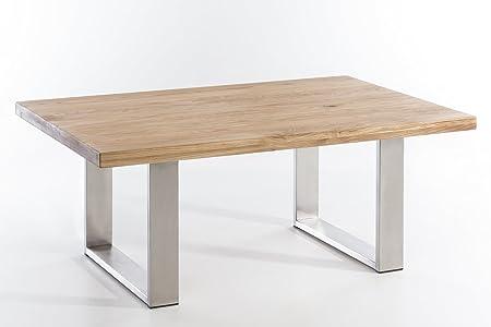 Couchtisch massiv Holz Wildeiche VALDEZ 110x70 natur geölt, Edelstahl Tischuntergestell