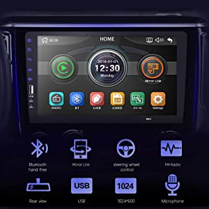 CarThree 9 Inch Single Din Car Stereo HD 1080P Car Radio Touch Screen with Rear View Camera Mirror Link Bluetooth FM Radio Tuner AUX/USB/Car MP5 Player (Color: Black)