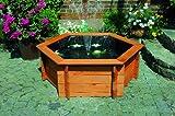 SECHSECK-HOCHTEICH diverse Größen mit Teichfolie und Teichpumpe Kieferholz imprägniert Gartendeko