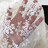 KINGSO Embroidery Cotton Lace Trim Wedding Fabric Cloth DIY Craft by the Yard White