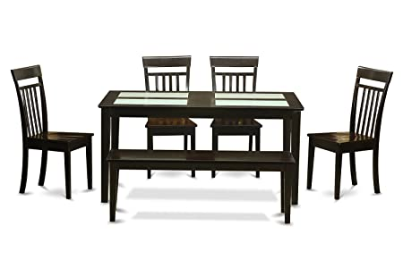 East West Furniture CAP6G-CAP-W 6-Piece Dining Table Set