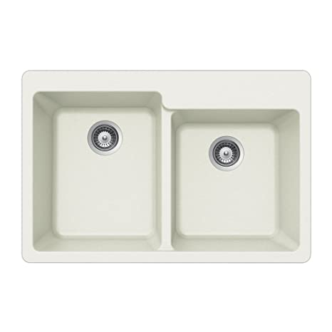Houzer M-175 CLOUD Quartztone Series Granite Top Mount 60/40 Double Bowl Kitchen Sink, White