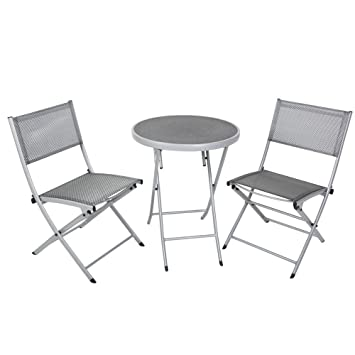 greemotion Balkon-Set 120274, bestehend aus 2 x Stuhl und 1 x Tisch, alle Teile der Sitzgruppe lassen sich zusammenklappen, Balkonsitzgruppe mit Aluminiumgestell und 4x4 Textilene, Gartentisch mit Sicherheitsglasplatte, Maße des Tisches: ca Ø