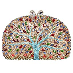 Fawziya® Wishing Tree Pattern Bling Clutch Purse Rhinestone Crystal Clutch Bag-Blue