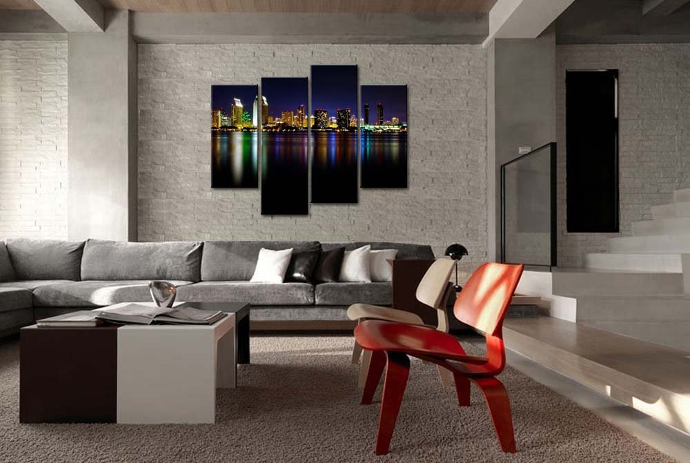 Amazon.com: So Crazy Art® 4 Panel Wall Art Painting San Diego ...