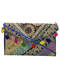 Blue City Silk Sling Bag (Multi Color) With Zari Embroidery