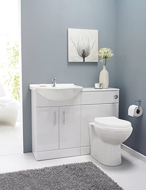 VeeBath Linx 1050 White Bathroom Set 550 Vanity with WC Unit, Round Pan, Cistern