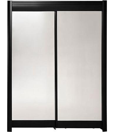Armoire 2 Portes Coulissantes en MDF coloris noir - l 180 x P 60 x H 210 cm - PEGANE -