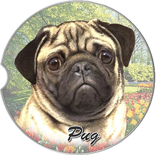 ES Pets Absorbent Stoneware Car Cup Holder Coaster, Pug by E&S Pets