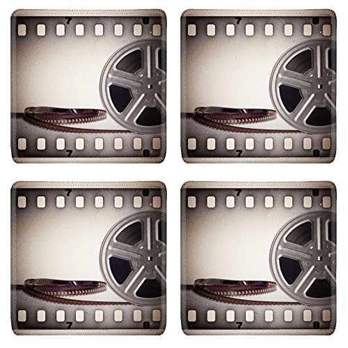 Luxlady Square Coaster Old motion picture film reel with film strip Vintage background IMAGE 20239841 Customized Art Home Kitchen (Vintage Film Reel compare prices)