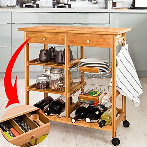 SoBuy FKW06-N, Kitchen Storage Cart with Shelves & Drawers,Hostess Trolley,Kitchen Island,L 28.3 x W 14.5 x H 29.7inch,Bamboo (Bamboo Kitchen Carts And Islands compare prices)