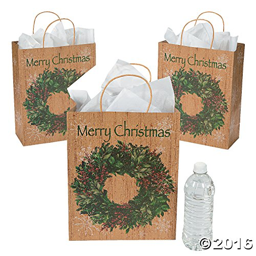 Large Holiday Wreath Kraft Gift Bags (12 Pack) 10