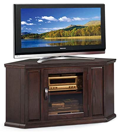 Corner TV Cart in Chocolate Oak Finish