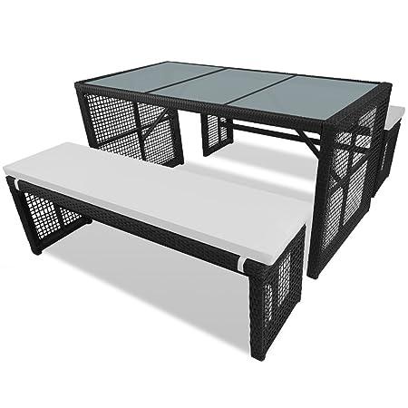 Poly Rattan Sitzgruppe Essgruppe Gartenmöbel Garnitur Tisch 2 Bänke Kissen