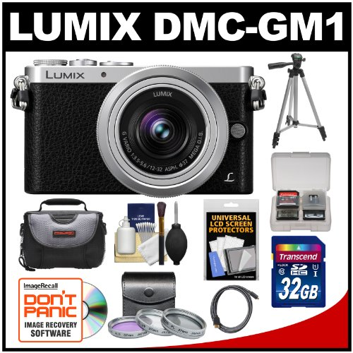 Panasonic Lumix DMC-GM1 Micro Four Thirds Digital Camera & 12-32mm Lens with 32GB Card + Case + Tripod + 3 Filters + Kit