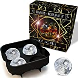 Ice Ball Maker Mold by BAR-KRAFT® - Deluxe Black Silicone Tray with 4 x 4.5cm Ice Sphere Capacity - Gold-trim Packaging
