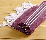 Burgundy 100% High Quality Cotton Towel Peshtemal For Beach Swimming Pool Yoga Gym Fitness Bath Spa Camping Backpacking