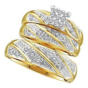 Amazon.com: His and Her Rings 10KT Yellow Gold 0.30CTW