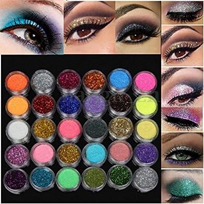 LuckyFine 30Pcs/Set Colors Mixed Glitter Loose Powder Eyeshadow Eye Shadow Cosmetics Salon Random Color App 2.5*1.5cm(D*H)