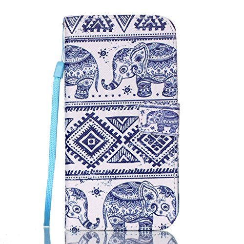 S7 Edge Case, Jenny Shop Stylish Flip Folio PU Leather Wallet Case With Wrist Strap Foldable Stand Built-in Cards Cash Holder Magnetic Closure for Samsung Galaxy S7 Edge SM-G935 2016 (Silver Elephant)