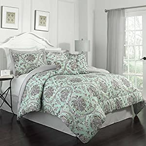 Traditions by Waverly 6-Piece Happy Festival Comforter Set, King, Aegean