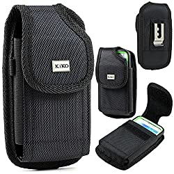 Black Samsung Galaxy Note 4, Note 3, Note 4 Edge, LG G3 Premium Vinyl Leather Carrying Holster Belt Clip Loop Pouch Case Cover Fits Otterbox Defender Series and Lifeproof Cover On