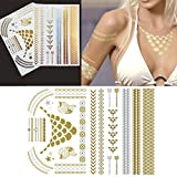 Righteous Lotus Temporary Metallic Tattoos Beautiful Non Permanent Jewelry Tattoos In Gold And Silver (Alessa Collection 2 Sheets)