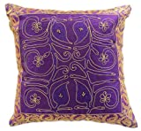 "Ornamental Embroidered Floral (16"" X 16"") Throw Pillow Cover, Set of 2 (Plum Purple)"